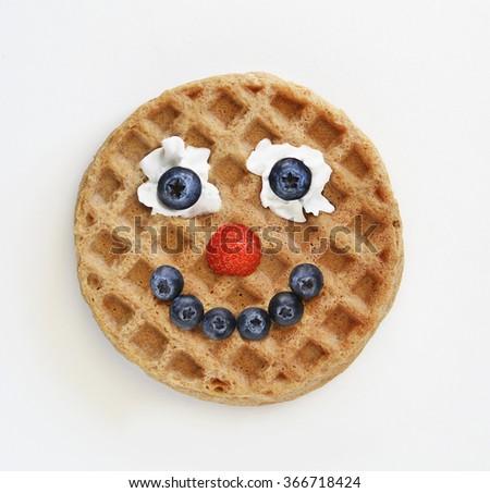 Waffle food face - stock photo