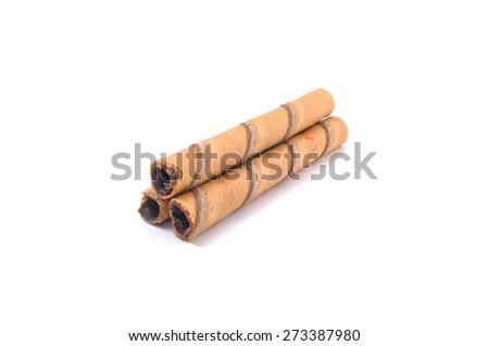 waffle rolls isolated on white background - stock photo