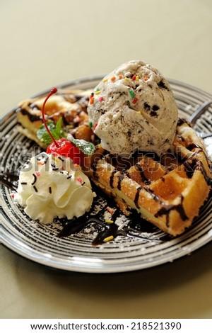 Waffle:serve with Ice Cream  - stock photo