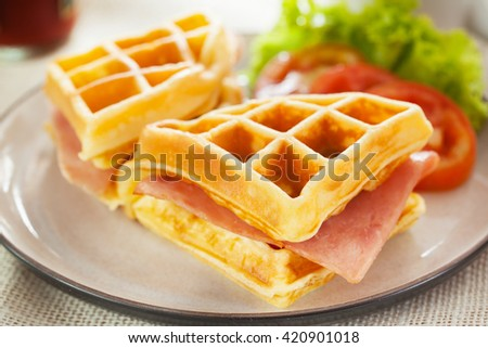 waffles ham cheese sandwich with vegetable - stock photo