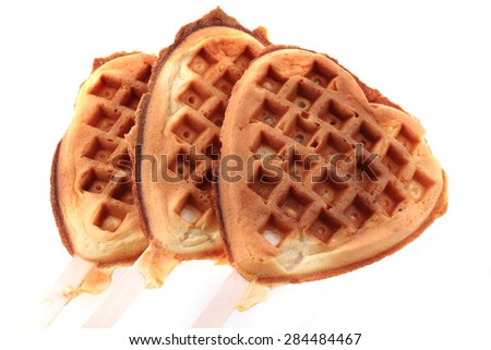 waffles heart isolated on the white background