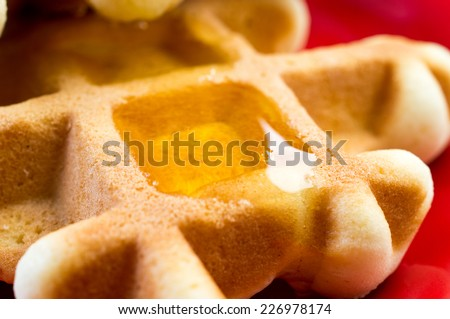 Waffles homemade with honey on a plate - stock photo
