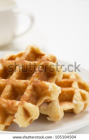 Waffles on a white plate
