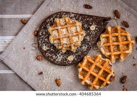 waffles, sugar waffles, Belgian waffles, waffles with berries, waffles top view - stock photo