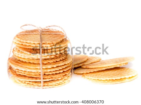 Waffles wafer biscuits homemade isolated