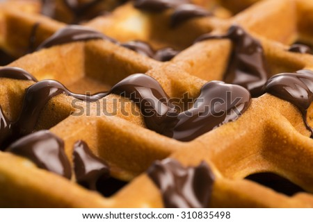 waffles with chocolate - stock photo