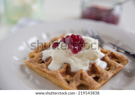 waffles with plum jam - stock photo