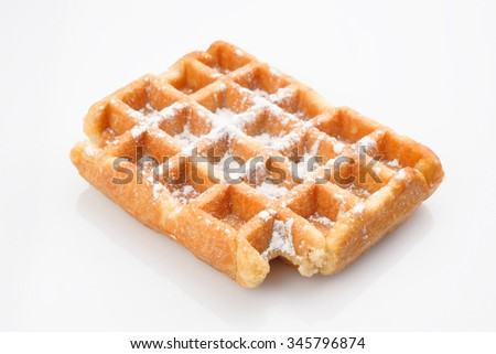 waffles with sugar isolated on white - stock photo