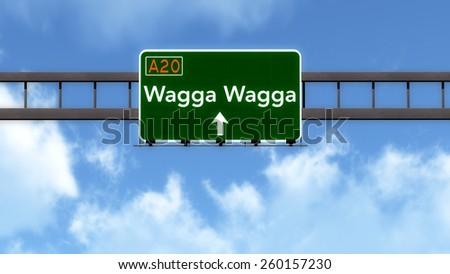 Wagga Wagga Australia Highway Road Sign - stock photo