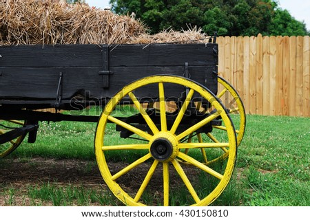 wagon in the farm outdoor for decoration - stock photo