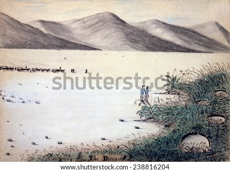 Wagon Train to the West. A wagon train of settlers crosses the Nevada desert. Daniel Jenks, color drawing, 1859 - stock photo