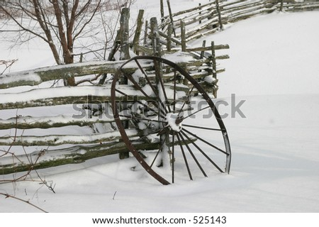 Wagon Wheel in Snow I