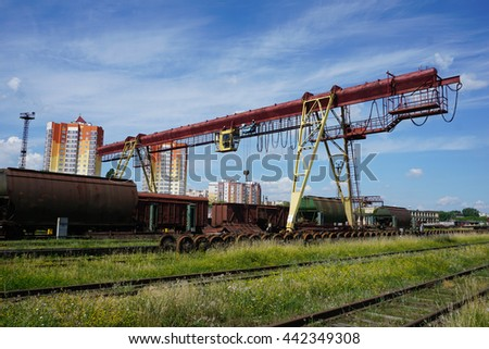 Wagons. Railway loading and unloading. Freight trains.                       - stock photo