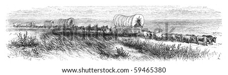 "Wagopns traveling on prairie. Illustration originally published in Ernst von Hesse-Wartegg's ""Nord Amerika"", swedish edition published in 1880. - stock photo"