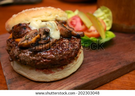 Wagyu Burger with Cheesy Mushroom - stock photo