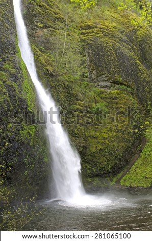 Wahkeena Falls in the Columbia River Gorge National Scenic Area - stock photo