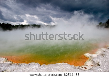 """Wai-O-Tapu (Maori for """"Sacred Waters"""") is an active geothermal area at the New Zealand - stock photo"""
