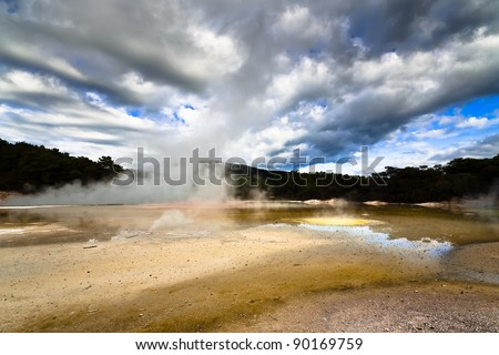Wai-O-Tapu Wonderland. Geothermal area at Wai-O-Tapu, Rotorua, North Island, New Zealand. - stock photo