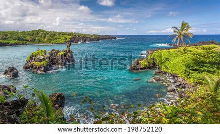 Waianapanapa landscape with turquoise water, black lava rocks and lush green vegetation. just before Hana on the island of Maui, Hawaii - stock photo