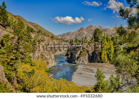 Waiau Ferry Bridge over the Waiau River near Hanmer Springs, Hurunui District, Canterbury,New Zealand