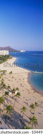 Waikiki Beach and Diamond Head, Honolulu, Oahu, Hawaii - stock photo