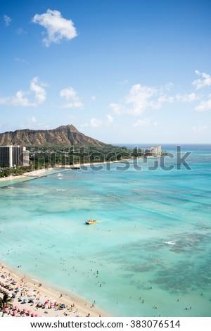 Waikiki Beach and Diamond Head in Hawaii - stock photo