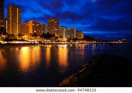 Waikiki beach at night - stock photo