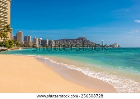 Waikiki Beach in Honolulu,Hawaii - stock photo