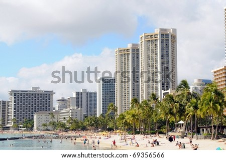 Waikiki beach The City of Honolulu Hawaii USA