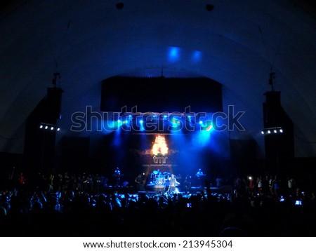 WAIKIKI, OAHU - JULY 25:  Rebel Souljahz sings on stage at MayJah RayJah Concert at the Waikiki Shell taken July 25, 2014 Waikiki, Hawaii. - stock photo