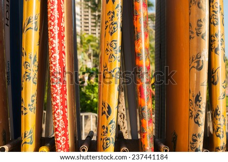 WAIKIKI, USA- NOVEMBER 6; Closeup surfboard rack on beach on November 6 ,2014 at Waikiki USA - stock photo