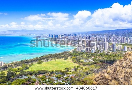 Waikiki view summer day blue sea
