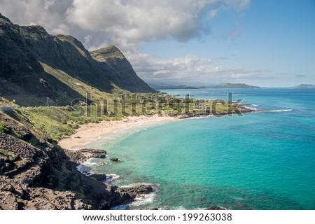 Waimanalo Beach Park on the beautiful Hawaiian Island of Oahu HDR image - stock photo