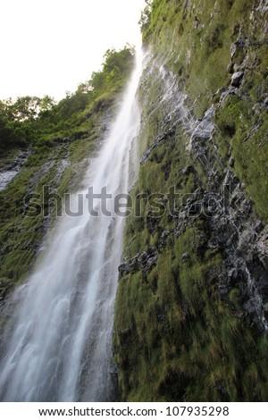 Waimoku Falls on Maui (Seven Sacred Pools, Haleakala National Park) - stock photo