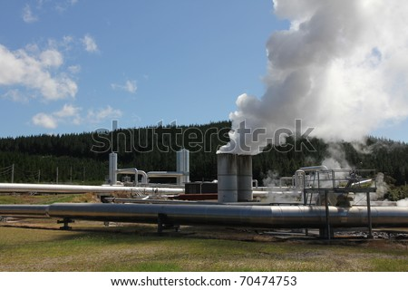 Wairakei Geothermal Power Plant - Taupo - New Zealand - stock photo