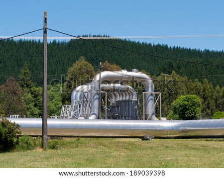 Wairakei New Zealand geothermal pipeline infrastructure installation for distribution and supply of volcanic hot water - stock photo