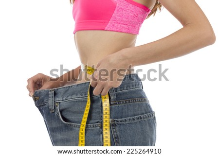 Waist line measuring with a tape