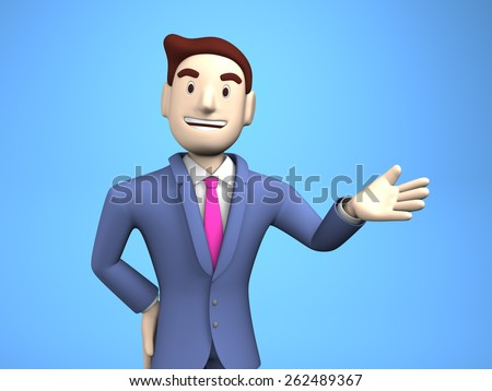 Waist Up Of Young Businessman On Blue Background.
