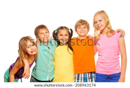 Waist up photo of five funny kids