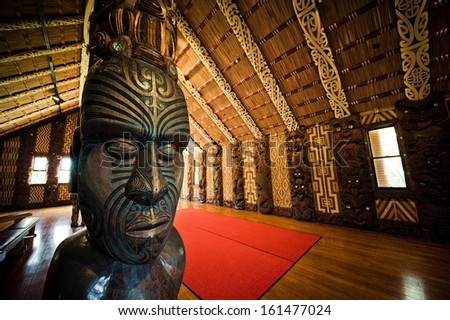 WAITANGI, NEW ZEALAND - SEPTEMBER 07: Maori Marae (meeting house) Treaty Grounds on Sept 7 2013 in Waitangi National Reserve, Bay of Islands, Far North District, Northland Region, New Zealand (NZ). - stock photo
