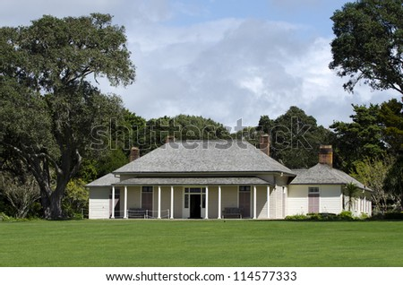 WAITANGI - OCTOBER 02: The Treaty House on Oct 02 2012 in Waitangi National Reserve, New Zealand.The Treaty of Waitangi was signed in the grounds of the Treaty House on 6 February 1840.