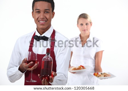 Waiter and waitress - stock photo