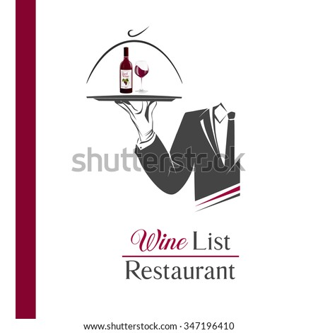 Waiter/butler holds a tray with a bottle of wine and glass illustration isolated. Classic banner/logo for restaurant/cafe menu and also wine list. Wine list sign. Great design for catering logo. - stock photo
