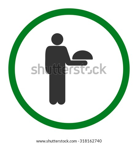 Waiter glyph icon. This rounded flat symbol is drawn with green and gray colors on a white background.