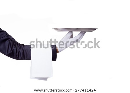 Waiter hand holding a empty silver tray, isolated on white background - stock photo