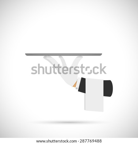 Waiter hand with tray and towel illustration. - stock photo