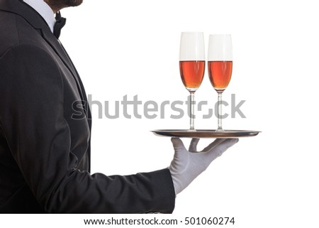 Waiter holding a tray with wine glasses