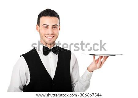 Waiter holding an empty dish isolated on white - stock photo
