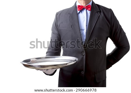 Waiter holding empty silver tray for customer  service isolated on white background with clipping path - stock photo