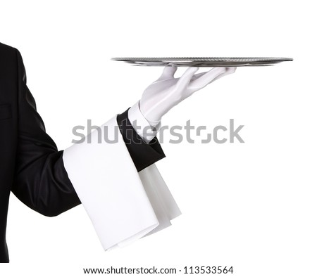 Waiter holding empty silver tray isolated on white background with copy space - stock photo